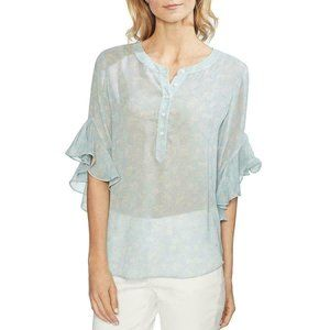 Vince Camuto Womens Floral Print Flutter Sleeves